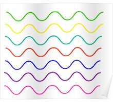 multi color wavy lines (black) Poster