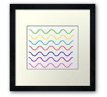 multi color wavy lines (white) Framed Print