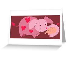 Mama Elephant and Baby Greeting Card