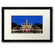 Vienna Rathaus at Christmas time. Framed Print