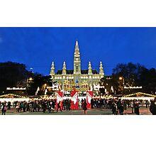 Vienna Rathaus at Christmas time. Photographic Print
