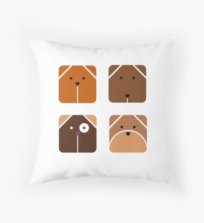 Squared dogs Throw Pillow