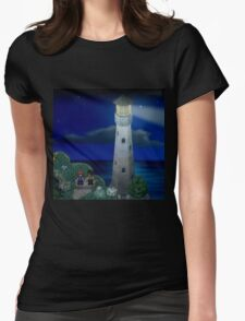 To the moon lighthouse Womens Fitted T-Shirt