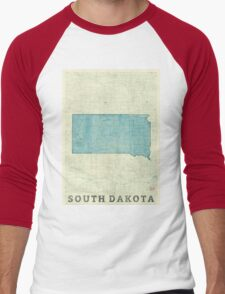 South Dakota State Map Blue Vintage Men's Baseball ¾ T-Shirt