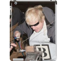 London Mayor,Boris Johnson, tests out London's largest open workshop as he tries welding a bicycle frame with Rob Quirk helping him iPad Case/Skin