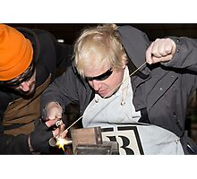 London Mayor,Boris Johnson, tests out London's largest open workshop as he tries welding a bicycle frame with Rob Quirk helping him Photographic Print