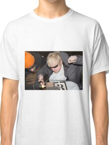 London Mayor,Boris Johnson, tests out London's largest open workshop as he tries welding a bicycle frame with Rob Quirk helping him Classic T-Shirt