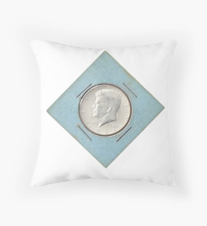 Silver Kennedy Half Dollar 1964 collector's item  Throw Pillow