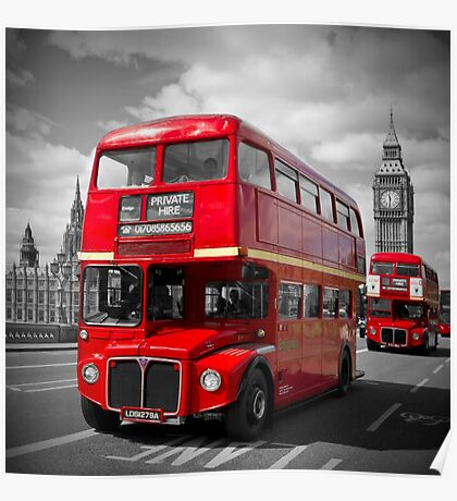 LONDON Red Buses on Westminster Bridge Poster