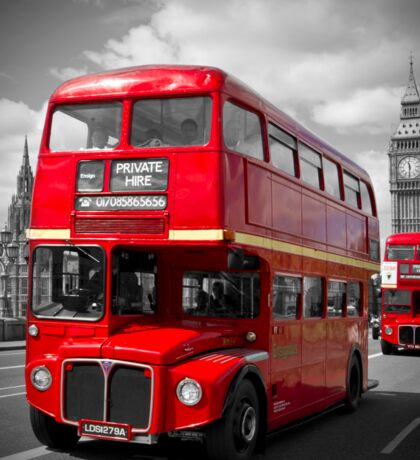 LONDON Red Buses on Westminster Bridge Sticker