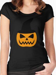 Jack-O-Lantern Pumpkin Hat Women's Fitted Scoop T-Shirt