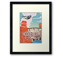 Hoover Dam Nevada Arizona retro cartoon Framed Print