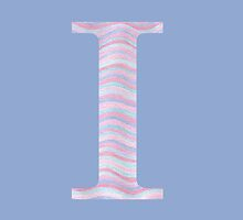 Initial I Rose Quartz And Serenity Pink Blue Wavy Lines by theartofvikki