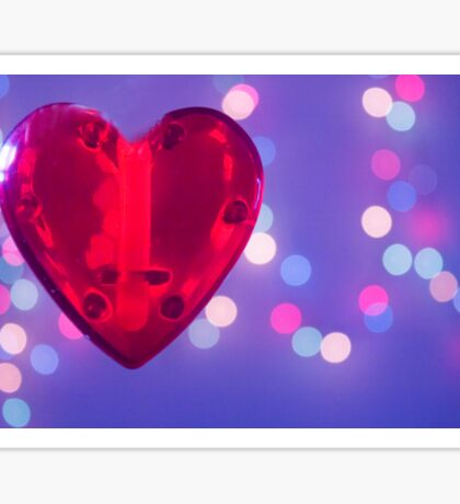 Red heart on blue background Sticker