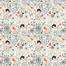 floral pattern with hearts and the elephants  by Tanor