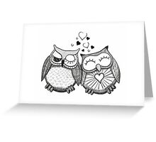 Cute black and white owl couple Greeting Card
