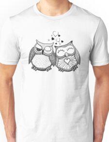 Cute black and white owl couple Unisex T-Shirt