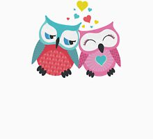 Cute owl couple with hearts Womens Fitted T-Shirt
