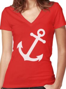 Simple White vector anchor Women's Fitted V-Neck T-Shirt