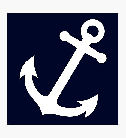 Simple White vector anchor Photographic Print