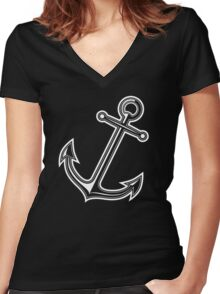 White vintage anchor Women's Fitted V-Neck T-Shirt