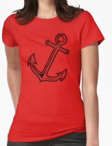Black vintage anchor Womens Fitted T-Shirt