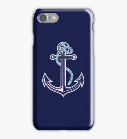 White and blue anchor with rope iPhone Case/Skin