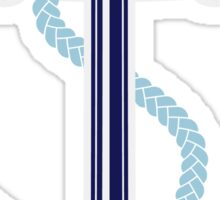 White and blue anchor with rope Sticker