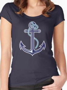 White and blue anchor with rope Women's Fitted Scoop T-Shirt