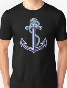 White and blue anchor with rope Unisex T-Shirt