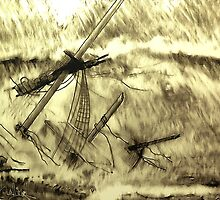 A digital painting of a Doomed Sailing Ship by Dennis Melling