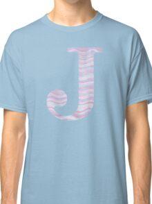 Initial J Rose Quartz And Serenity Pink Blue Wavy Lines Classic T-Shirt