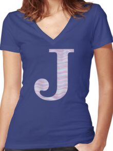 Initial J Rose Quartz And Serenity Pink Blue Wavy Lines Women's Fitted V-Neck T-Shirt