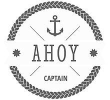 AHOY Captain Badge with anchor by Fuchs-und-Spatz