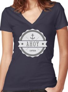 AHOY Captain Badge with anchor Women's Fitted V-Neck T-Shirt