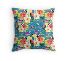 tropical pattern with birds Throw Pillow