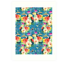 tropical pattern with birds Art Print