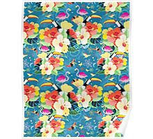 tropical pattern with birds Poster