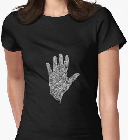 HennaHandWhite Womens Fitted T-Shirt