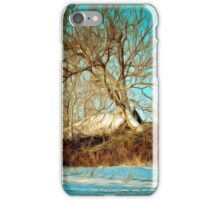 A digital painting of a Romanian Winter scene iPhone Case/Skin