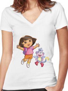 Dora The Explorer Women's Fitted V-Neck T-Shirt