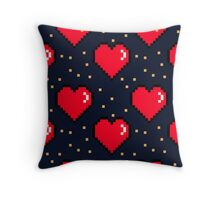 retro 8 bit red pixel hearts Throw Pillow