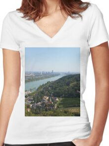 The view of Vienna from Leopoldsberg Women's Fitted V-Neck T-Shirt
