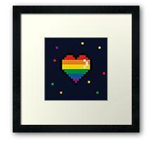 pride 8 bit heart Framed Print