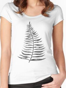 Black Palm Leaf Women's Fitted Scoop T-Shirt