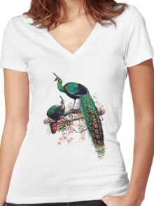Peacock extravaganza Women's Fitted V-Neck T-Shirt