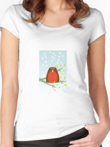 Robin in the snow Women's Fitted Scoop T-Shirt