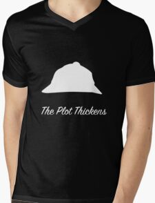 "Sherlock Holmes ""The Plot Thickens"" (White) Mens V-Neck T-Shirt"