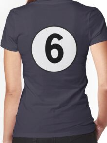 6, Sixth, Number Six, Number 6, Racing, Six, Competition, on Navy Blue Women's Fitted V-Neck T-Shirt