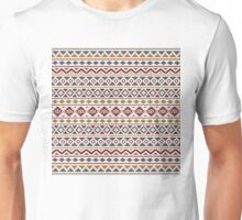 Aztec Essence Pattern II Red Blue Gold Cream Unisex T-Shirt